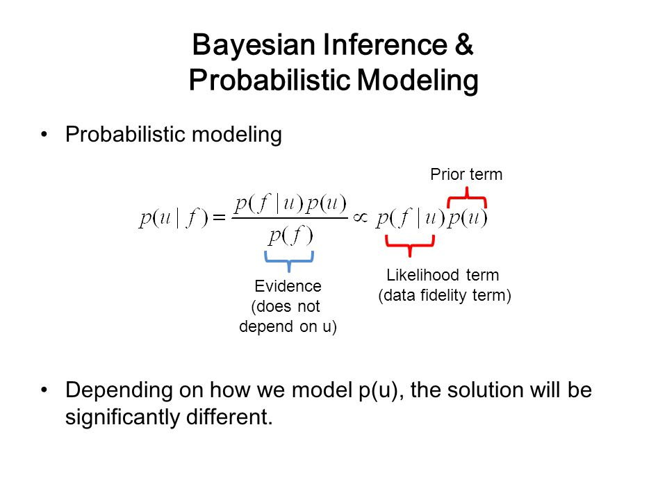 Bayesian Inference & Probabilistic Modeling Probabilistic modeling Depending on how we model p(u), the solution will be significantly different. Likel
