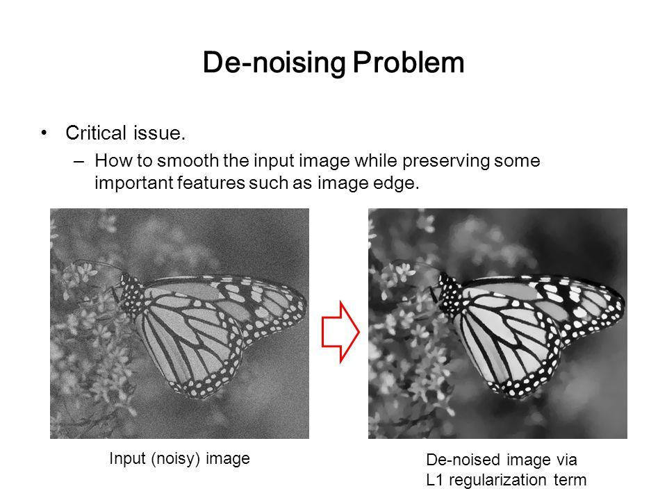 De-noising Problem Critical issue.