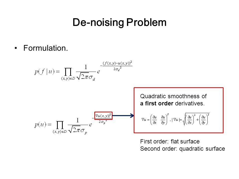 De-noising Problem Formulation. Quadratic smoothness of a first order derivatives.