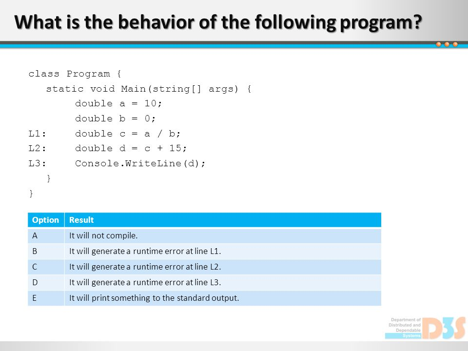 What is the behavior of the following program.