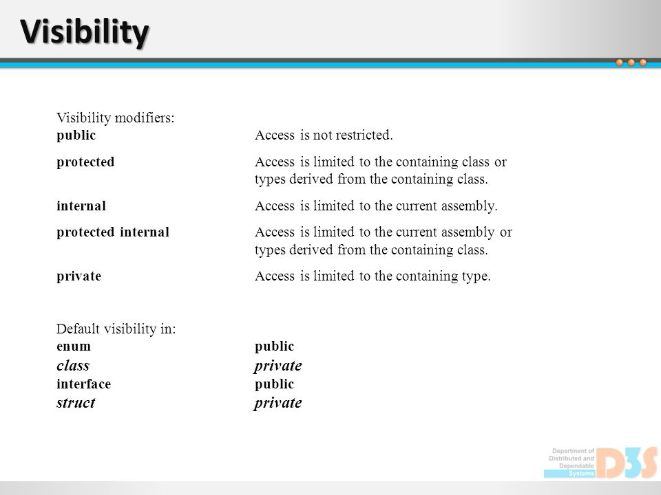 Visibility Visibility modifiers: publicAccess is not restricted.