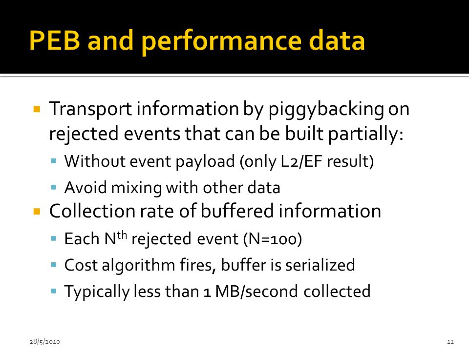  Transport information by piggybacking on rejected events that can be built partially:  Without event payload (only L2/EF result)  Avoid mixing with other data  Collection rate of buffered information  Each N th rejected event (N=100)  Cost algorithm fires, buffer is serialized  Typically less than 1 MB/second collected 28/5/201011