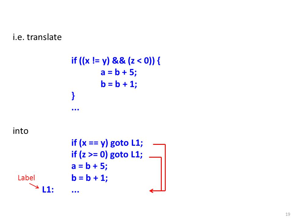 19 i.e. translate if ((x != y) && (z < 0)) { a = b + 5; b = b + 1; }...