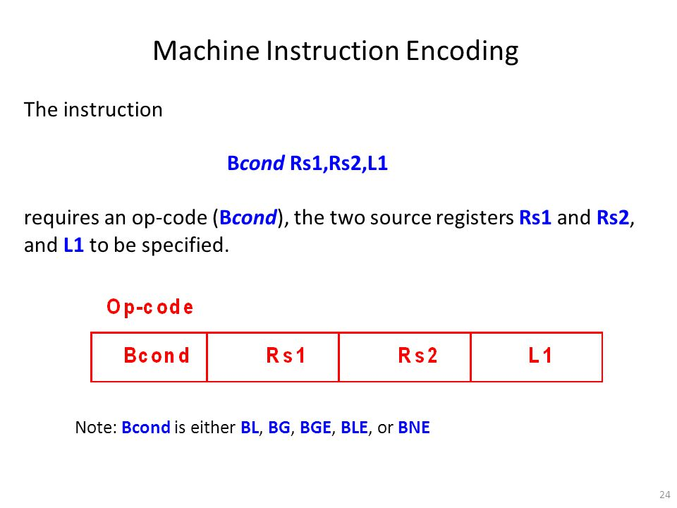 24 Machine Instruction Encoding The instruction Bcond Rs1,Rs2,L1 requires an op-code (Bcond), the two source registers Rs1 and Rs2, and L1 to be speci