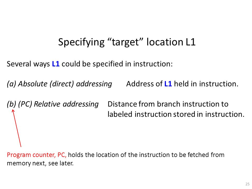 "25 Specifying ""target"" location L1 Several ways L1 could be specified in instruction: (a) Absolute (direct) addressing Address of L1 held in instructi"