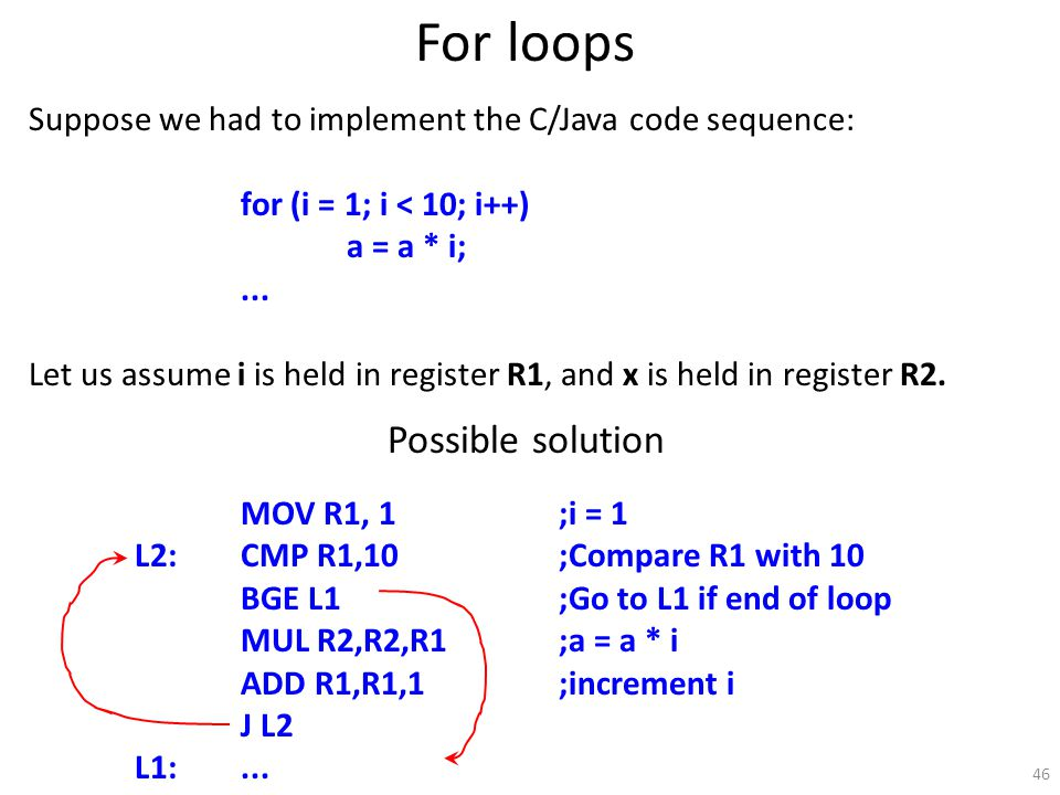 46 For loops Suppose we had to implement the C/Java code sequence: for (i = 1; i < 10; i++) a = a * i;...