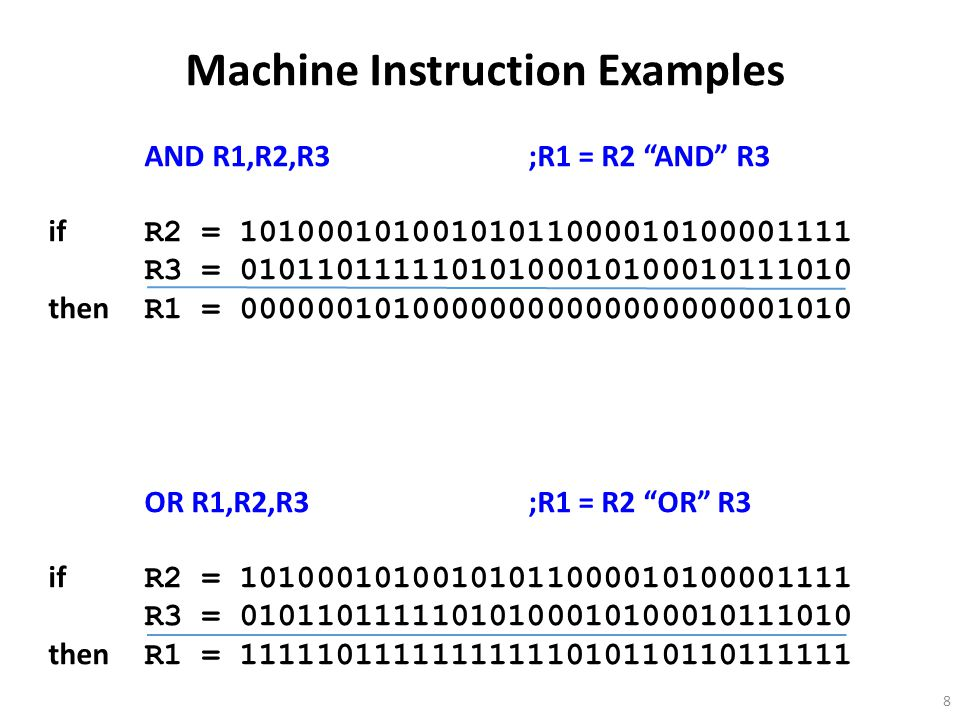 8 Machine Instruction Examples AND R1,R2,R3;R1 = R2 AND R3 if R2 = R3 = then R1 = OR R1,R2,R3;R1 = R2 OR R3 if R2 = R3 = then R1 =