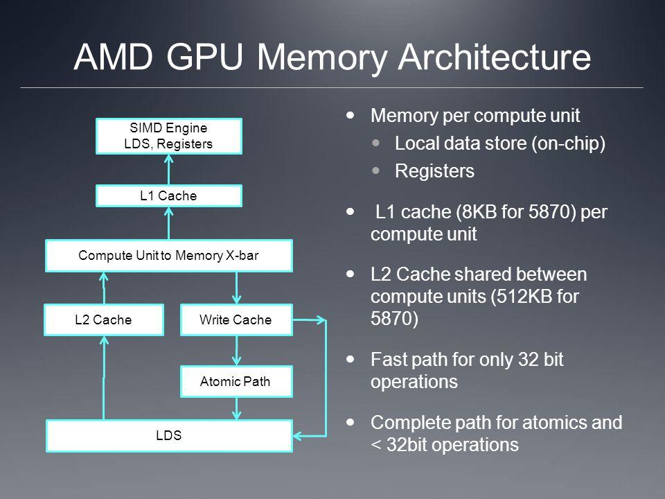 AMD GPU Memory Architecture Memory per compute unit Local data store (on-chip) Registers L1 cache (8KB for 5870) per compute unit L2 Cache shared betw