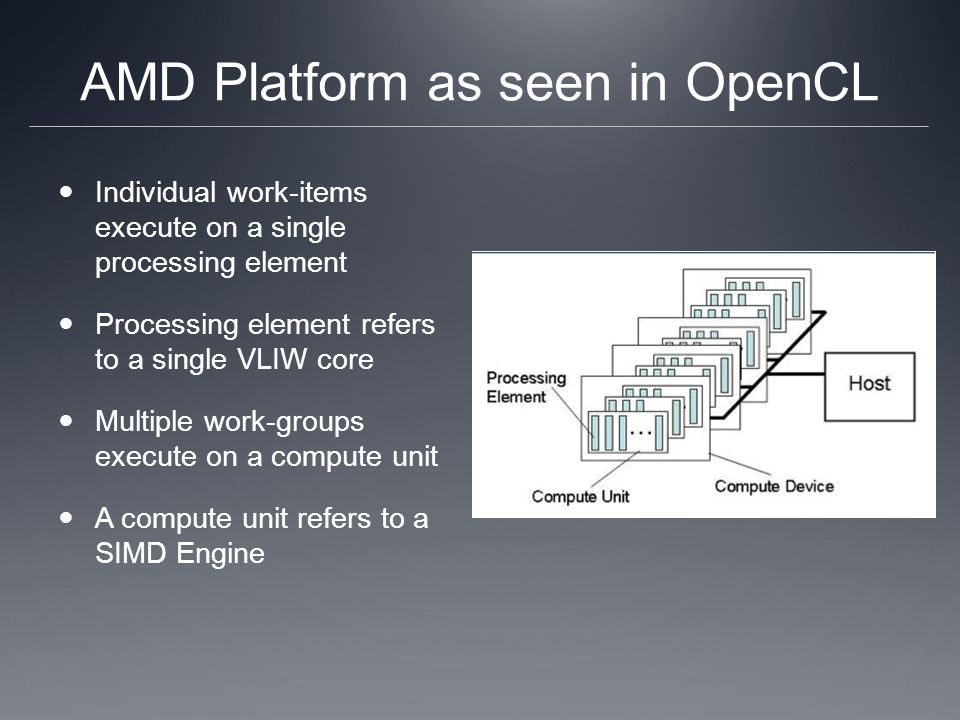 AMD Platform as seen in OpenCL Individual work-items execute on a single processing element Processing element refers to a single VLIW core Multiple work-groups execute on a compute unit A compute unit refers to a SIMD Engine