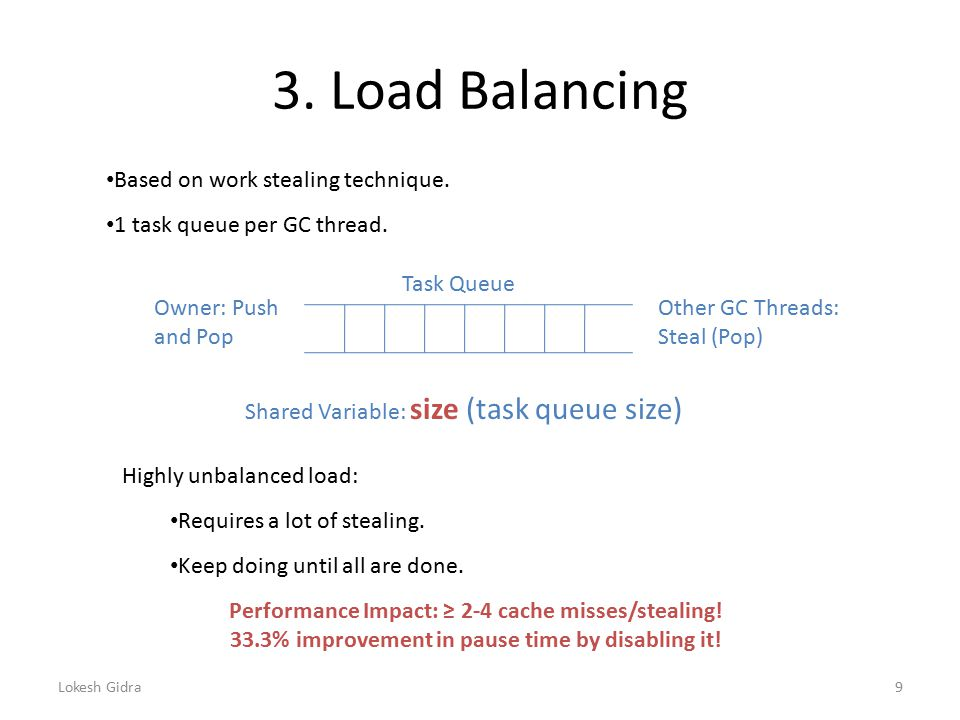 3. Load Balancing Task Queue Owner: Push and Pop Other GC Threads: Steal (Pop) Based on work stealing technique. 1 task queue per GC thread. Highly un