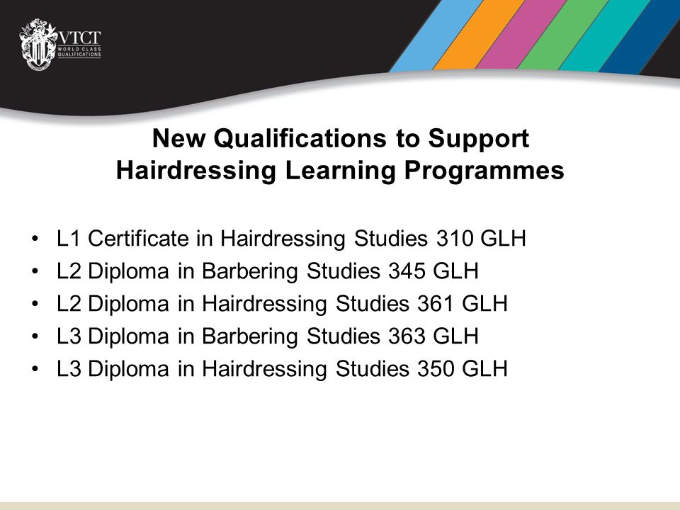 New Qualifications to Support Hairdressing Learning Programmes L1 Certificate in Hairdressing Studies 310 GLH L2 Diploma in Barbering Studies 345 GLH