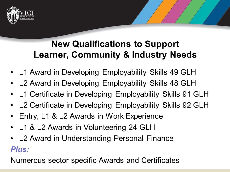 New Qualifications to Support Learner, Community & Industry Needs L1 Award in Developing Employability Skills 49 GLH L2 Award in Developing Employabil