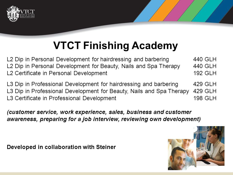 VTCT Finishing Academy L2 Dip in Personal Development for hairdressing and barbering 440 GLH L2 Dip in Personal Development for Beauty, Nails and Spa