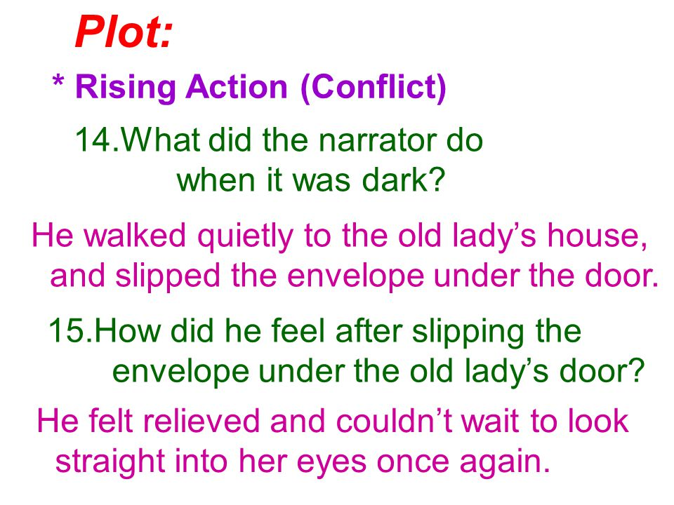Plot: * Rising Action (Conflict) 14.What did the narrator do when it was dark.