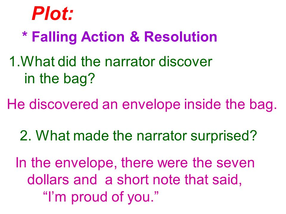 Plot: * Falling Action & Resolution 1.What did the narrator discover in the bag.