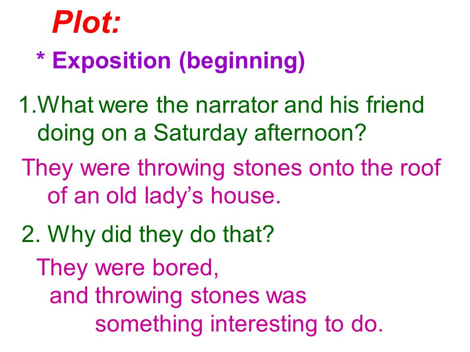 Plot: * Exposition (beginning) 1.What were the narrator and his friend doing on a Saturday afternoon.