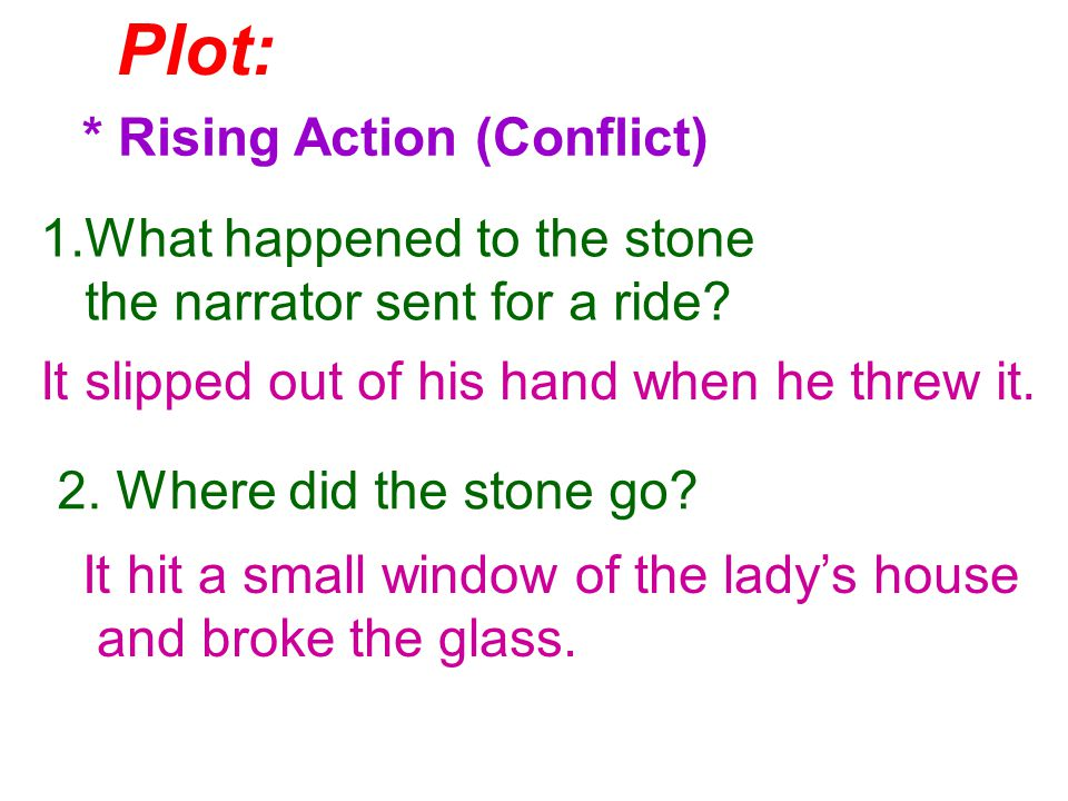 Plot: * Rising Action (Conflict) 1.What happened to the stone the narrator sent for a ride.