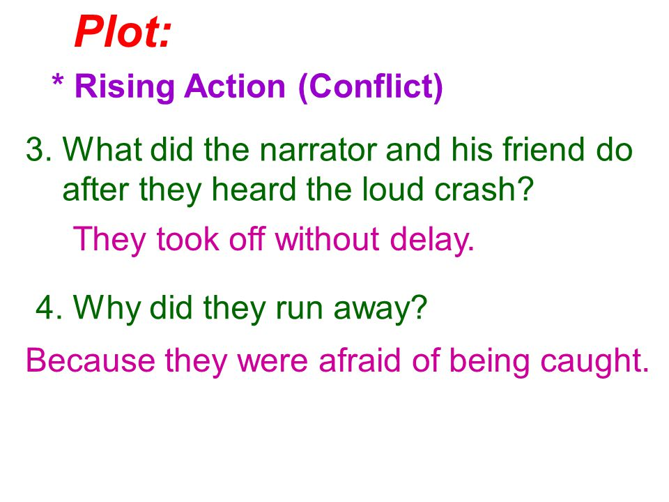 Plot: * Rising Action (Conflict) 5.How did the narrator feel for the next few days.