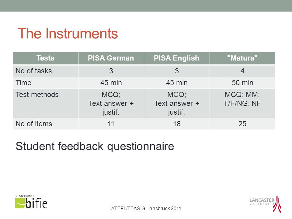 IATEFL/TEASIG, Innsbruck 2011 The Instruments TestsPISA GermanPISA English