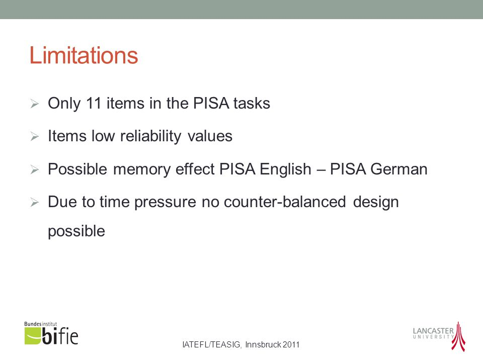 IATEFL/TEASIG, Innsbruck 2011 Limitations  Only 11 items in the PISA tasks  Items low reliability values  Possible memory effect PISA English – PIS