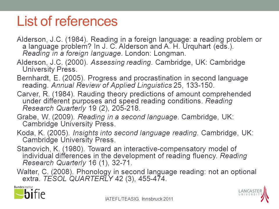 IATEFL/TEASIG, Innsbruck 2011 List of references Alderson, J.C.
