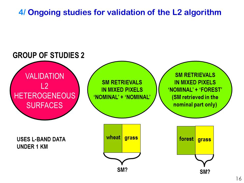 4/ Ongoing studies for validation of the L2 algorithm VALIDATION L2 HETEROGENEOUS SURFACES SM RETRIEVALS IN MIXED PIXELS 'NOMINAL' + 'FOREST' (SM retrieved in the nominal part only) SM RETRIEVALS IN MIXED PIXELS 'NOMINAL' + 'NOMINAL' GROUP OF STUDIES 2 USES L-BAND DATA UNDER 1 KM 16 wheat grass SM.