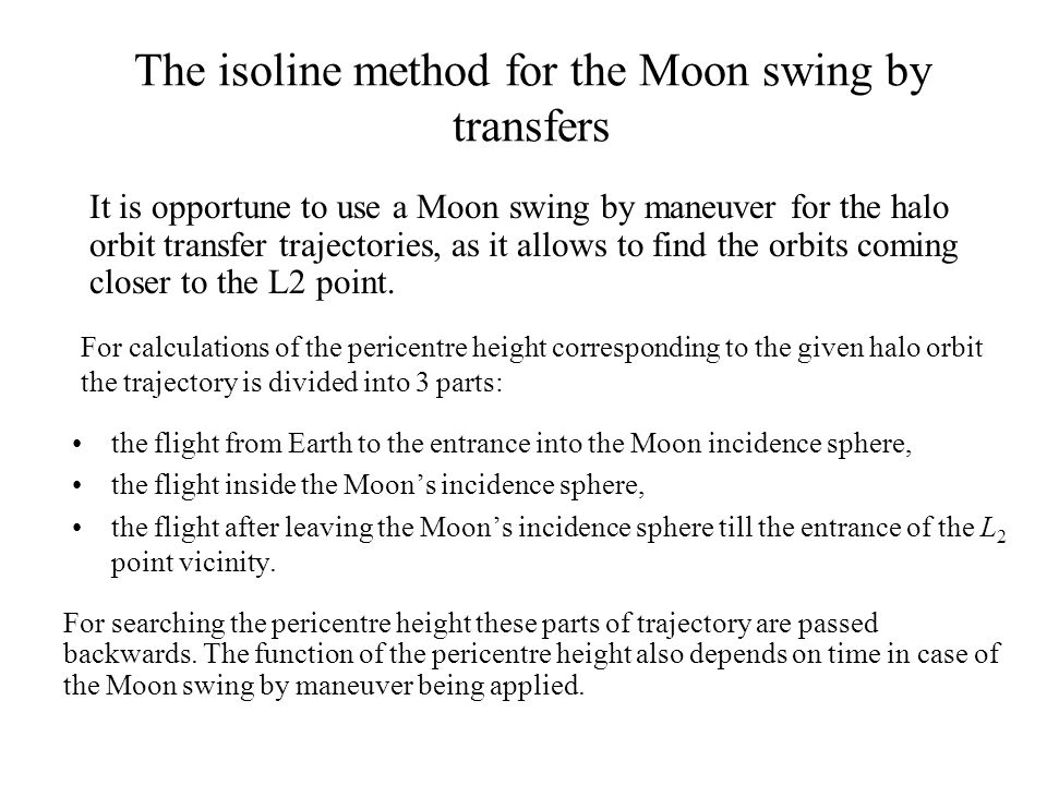 The isoline method for the Moon swing by transfers the flight from Earth to the entrance into the Moon incidence sphere, the flight inside the Moon's incidence sphere, the flight after leaving the Moon's incidence sphere till the entrance of the L 2 point vicinity.
