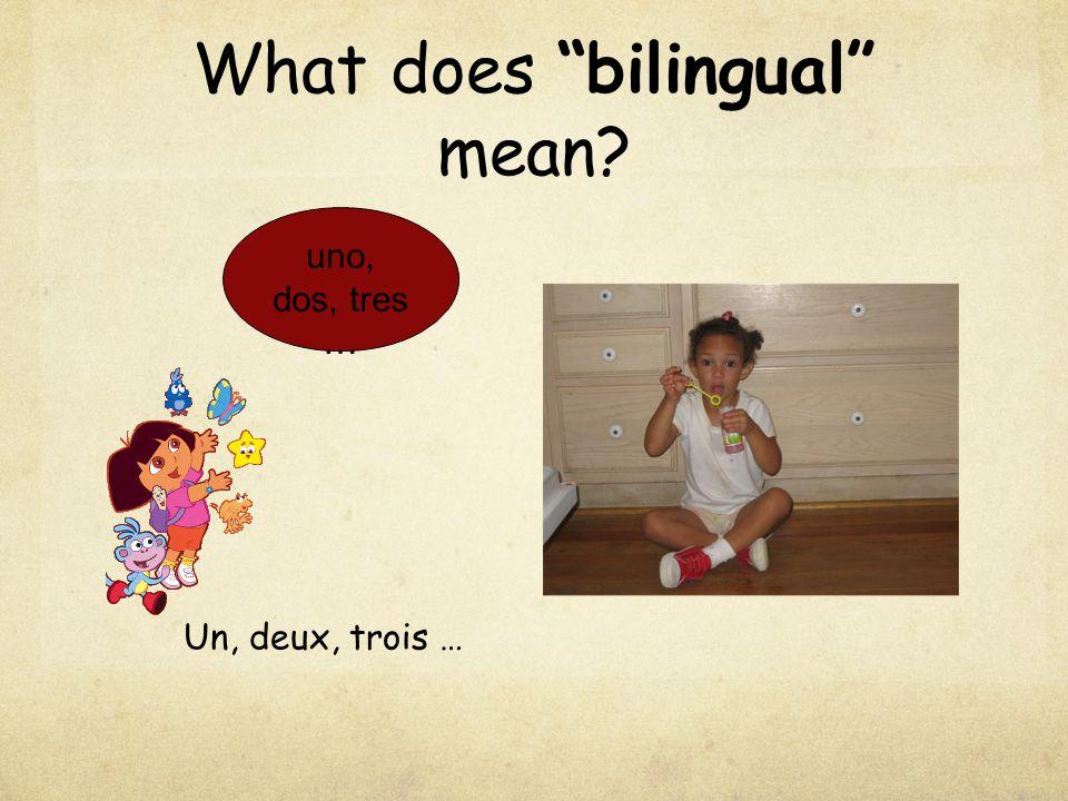 """What does """"bilingual"""" mean? uno, dos, tres … Un, deux, trois …"""