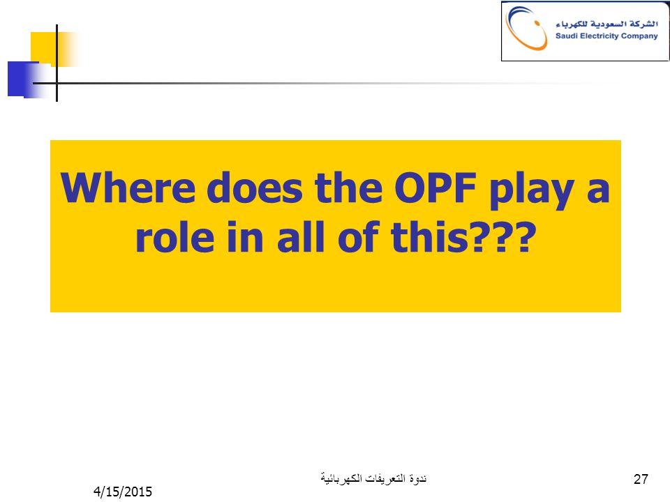 4/15/2015 ندوة التعريفات الكهربائية 27 Where does the OPF play a role in all of this???