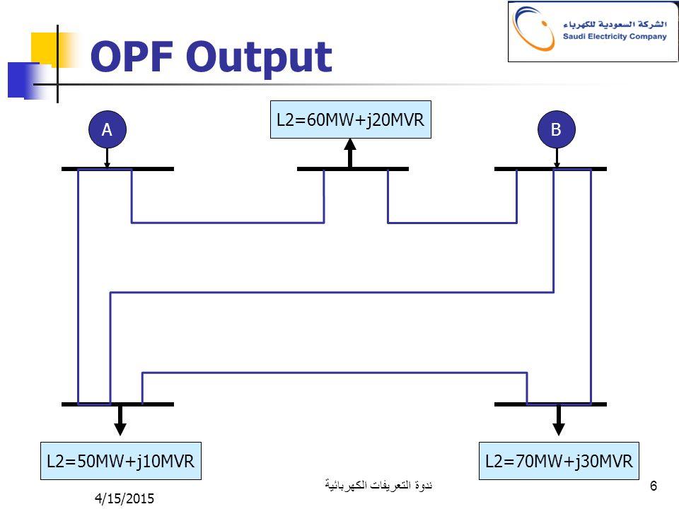 4/15/2015 ندوة التعريفات الكهربائية 6 OPF Output AB L2=50MW+j10MVR L2=70MW+j30MVR L2=60MW+j20MVR