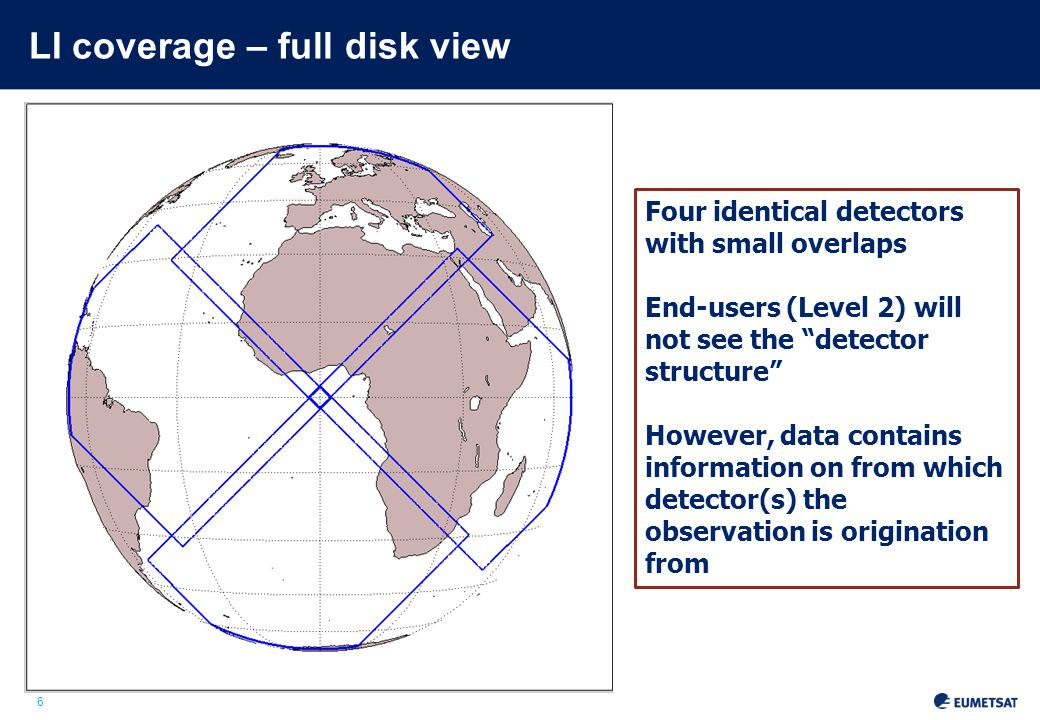 6 LI coverage – full disk view Four identical detectors with small overlaps End-users (Level 2) will not see the detector structure However, data contains information on from which detector(s) the observation is origination from