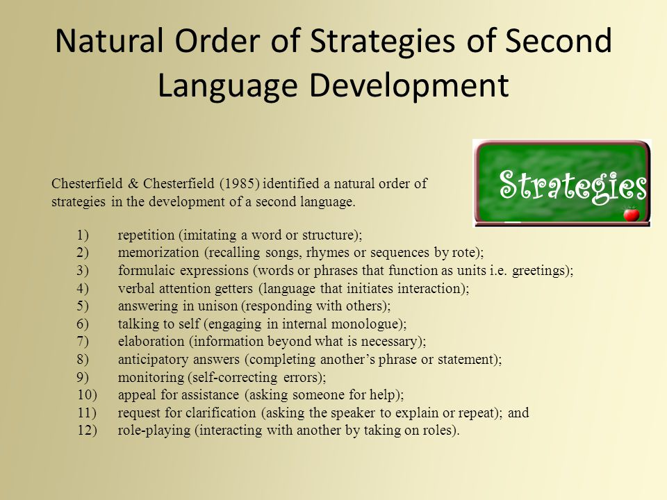 Natural Order of Strategies of Second Language Development Chesterfield & Chesterfield (1985) identified a natural order of strategies in the developm