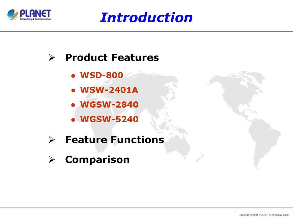 Comparison WGSW-5240 Brand PLANET NetgearD-Link Model WGSW-5240 FSM750SDES-3250TG Hardware 10/100Base-TX Port48 10/100/1000Base-T Port422 SFP Mini-GBIC interface4-2 GBIC interface-2- Switch Fabric17.6Gbps20Gbps13.6Gbps MAC Address Table8K Dimension1U height2U height1U height Switching Features Spanning Tree802.1d, 802.1w802.1d802.1d, 802.1w VLAN802.1Q, 255 groups802.1Q, 64 groups802.1Q, 255 groups Port Trunk8 ports, 12 groupsVUp to 8 ports per trunk Port MirrorRX/TX/BothV QoS4 priority queuesV MAC filterPer Switch-V MAC Address BindPer port-- Multicast SupportIGMP v1, v2-IGMP, GVRP Bandwidth ControlPer port 64~80000Kbps-- Storm ControlPer port 64~80000Kbps-- StackIP Stack (Next Version)Hardware Stack- RoutingStatic Routing--