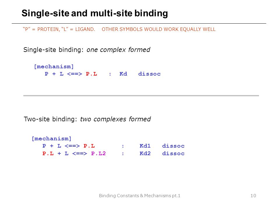 """Binding Constants & Mechanisms pt.110 Single-site and multi-site binding """"P"""" = PROTEIN, """"L"""" = LIGAND. OTHER SYMBOLS WOULD WORK EQUALLY WELL [mechanism"""