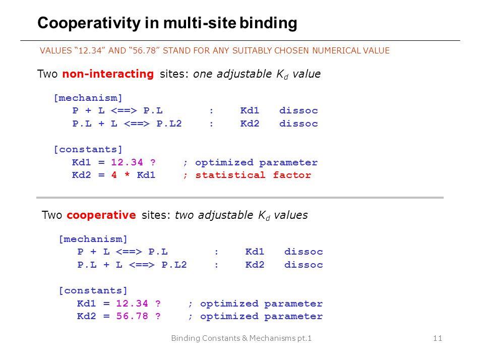 Binding Constants & Mechanisms pt.111 Cooperativity in multi-site binding [mechanism] P + L P.L : Kd1 dissoc P.L + L P.L2 : Kd2 dissoc [constants] Kd1 = 12.34 .