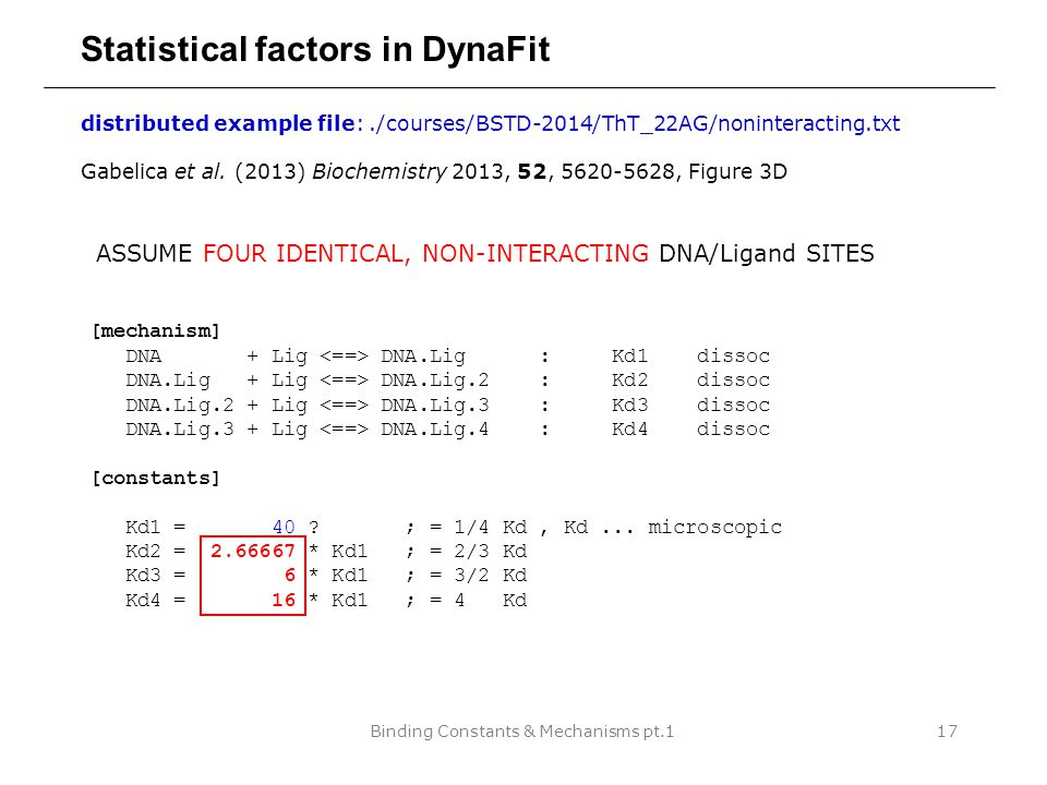 Binding Constants & Mechanisms pt.117 Statistical factors in DynaFit distributed example file:./courses/BSTD-2014/ThT_22AG/noninteracting.txt Gabelica et al.