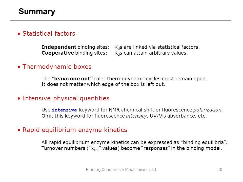 Binding Constants & Mechanisms pt.130 Summary Statistical factors Independent binding sites: K d s are linked via statistical factors.