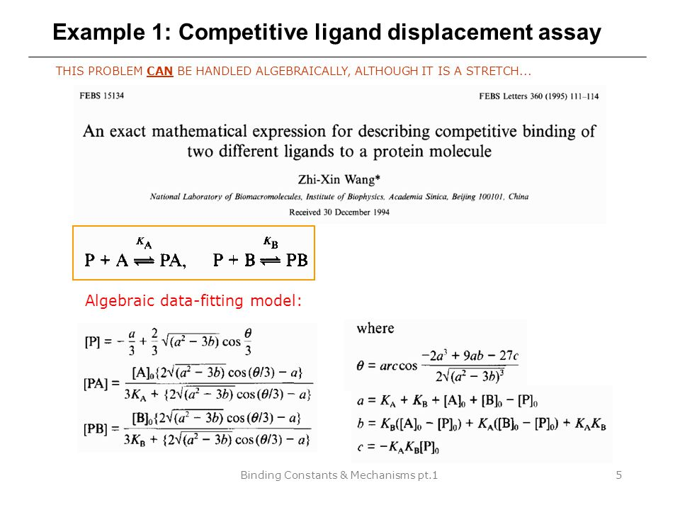 Binding Constants & Mechanisms pt.126 Theoretical considerations MINIMUM AMOUNT OF THEORY NEEDED FOR CONSTRUCTING MECHANISMS IN DYNAFIT Statistical factors Thermodynamic box Intensive physical quantities Rapid equilibrium enzyme kinetics 