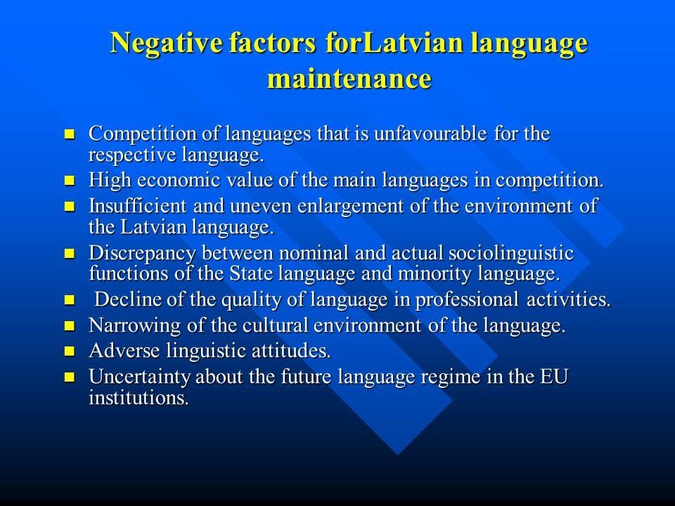 Negative factors forLatvian language maintenance Competition of languages that is unfavourable for the respective language. Competition of languages t