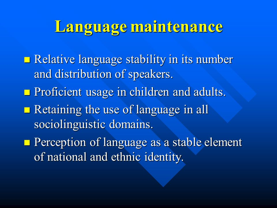 Positive factors for Latvian language maintenance Sufficient number of L1 speakers and growing number of L2 speakers.
