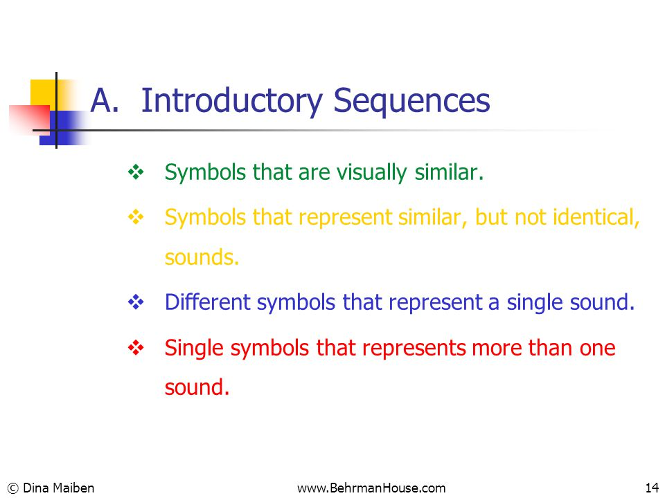 A. Introductory Sequences  Symbols that are visually similar.