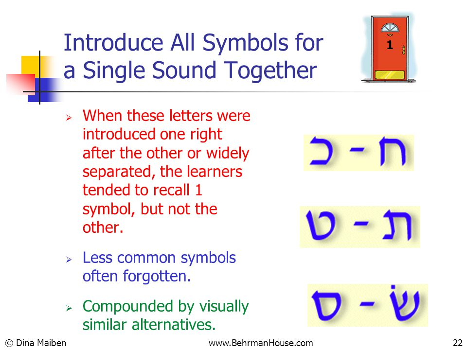 Introduce All Symbols for a Single Sound Together  When these letters were introduced one right after the other or widely separated, the learners tended to recall 1 symbol, but not the other.