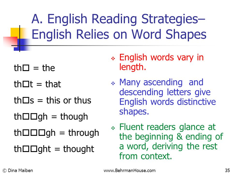 A. English Reading Strategies– English Relies on Word Shapes th  = the th  t = that th  s = this or thus th  gh = though th  gh = through th 