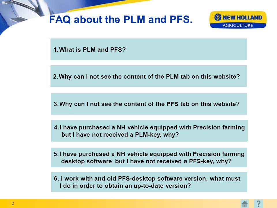 2 FAQ about the PLM and PFS.