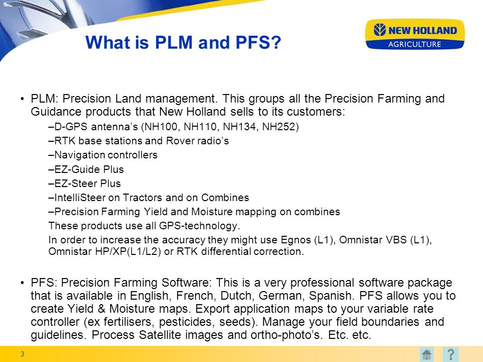 3 What is PLM and PFS.PLM: Precision Land management.