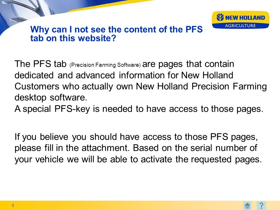 5 Why can I not see the content of the PFS tab on this website.