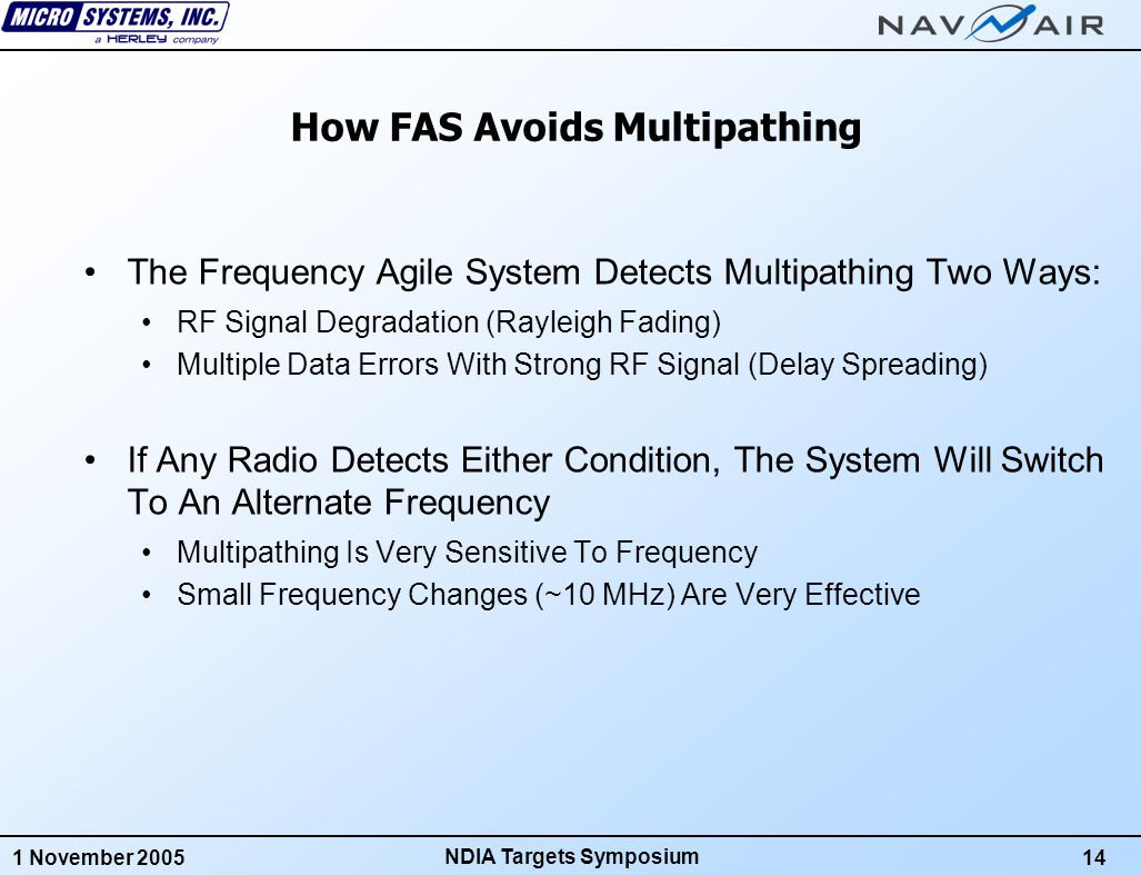 1 November 200514 NDIA Targets Symposium How FAS Avoids Multipathing The Frequency Agile System Detects Multipathing Two Ways: RF Signal Degradation (Rayleigh Fading) Multiple Data Errors With Strong RF Signal (Delay Spreading) If Any Radio Detects Either Condition, The System Will Switch To An Alternate Frequency Multipathing Is Very Sensitive To Frequency Small Frequency Changes (~10 MHz) Are Very Effective