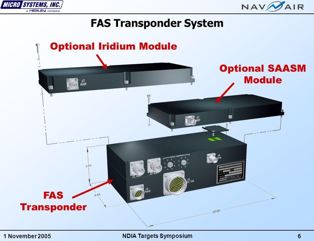 1 November 20056 NDIA Targets Symposium FAS Transponder Optional Iridium Module Optional SAASM Module FAS Transponder System