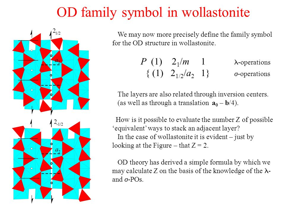 OD family symbol in wollastonite We may now more precisely define the family symbol for the OD structure in wollastonite. P (1) 2 1 /m 1 -operations {