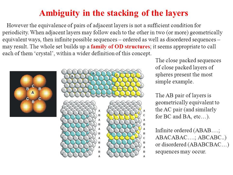 Ambiguity in the stacking of the layers However the equivalence of pairs of adjacent layers is not a sufficient condition for periodicity. When adjace